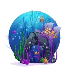 underwater rocks with seaweed and fish fun vector image vector image