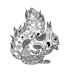 Zentangle stylized squirrel Coloring page vector image vector image