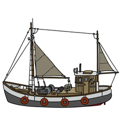 Old fishing cutter vector