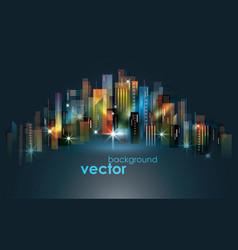 Colorful night city skyline vector