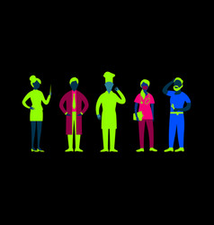 flat people professions collection vector image