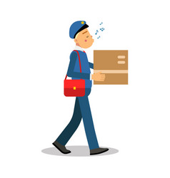 Postman in blue uniform delivering cardboard box vector
