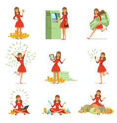 happy young millionaire woman in a red dress vector image