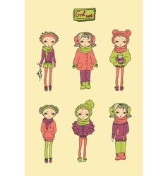 Teenage girl set vector