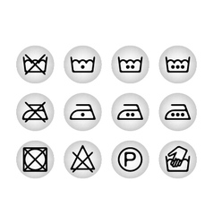 Instruction laundry dry cleaning care icons vector