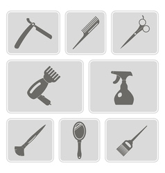Monochrome icons with hairdressing supplies vector