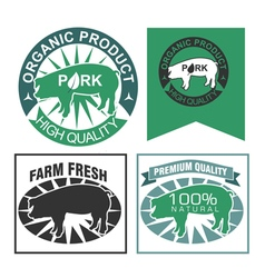 Organic pork label set vector