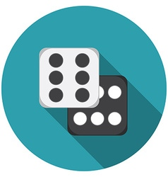 Flat design dice icon with long shadow isolated vector image