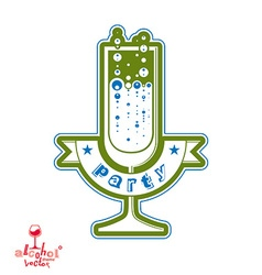 Simple champagne party goblet with bubbles vector