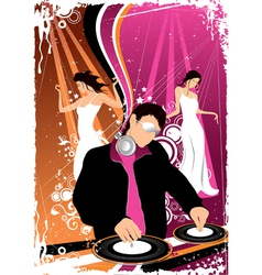 Disco jockey and dancing girls vector