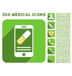 Medication online information icon and medical vector