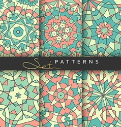 Set 6 cover books bright patterned covers for vector