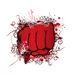 fist with floral vector image