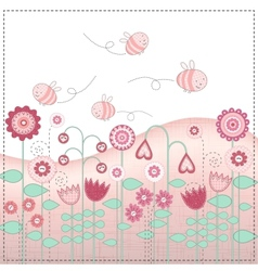 Lovely flowers and the cute bees vector