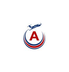 Airplane logo initial a vector