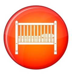 Baby bed icon flat style vector