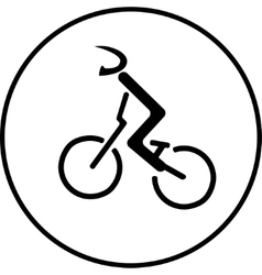 Bicycle racer stick sign vector