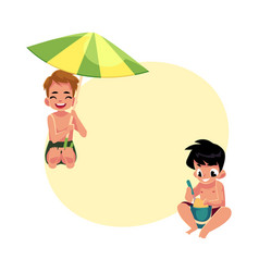 Boys playing on the beach - filling bucket hiding vector