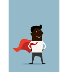 Cartoon african american superman hero businessman vector