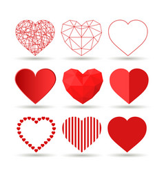 collection of creative hearts happy vector image vector image