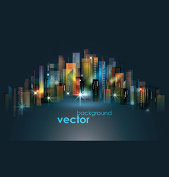 colorful night city skyline vector image vector image