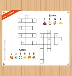 Crossword education game for children about summer vector
