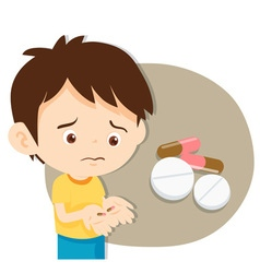Cute boy do not want to take medicine vector