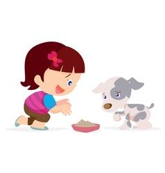 cute girl give food dog vector image