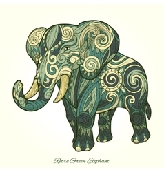Elephant green ornament ethnic vector