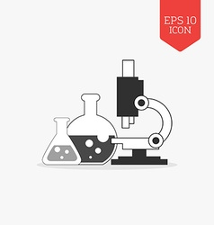 Flasks and microscope icon research lab concept vector