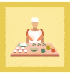 Flat shading style icon school cook vector