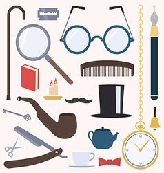 Gentlemens vintage design elements set vector image