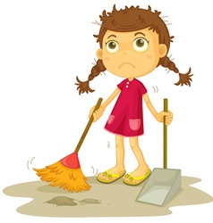girl cleaning floor vector image vector image