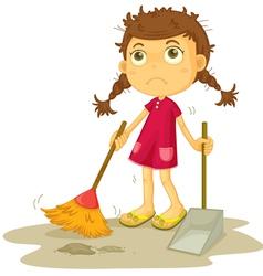 Girl cleaning floor vector