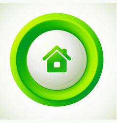 Green plastic home round button vector image