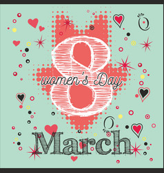 Greeting card with 8 march womens day 6 vector