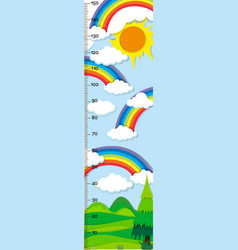 Height measurement chart with rainbow in vector