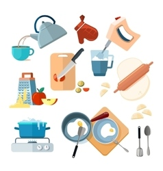 Kitchen cooking processes grated vegetables vector