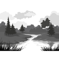 Landscape trees and river silhouette vector