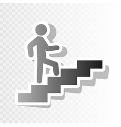 Man on stairs going up new year blackish vector