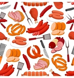 Meat and sausages seamless pattern vector