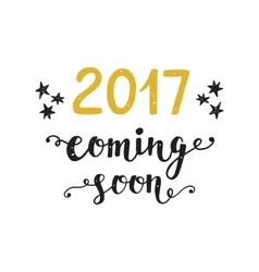 New Year card 2017 year coming soon vector image vector image