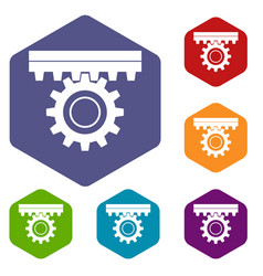 One gear icons set hexagon vector