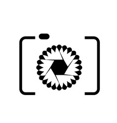 photography logo with floral aperture vector image