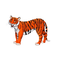 Red cartoon tiger vector