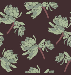 Seamless pattern of green succulent leaves vector