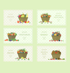 Set of fruits and vegetables labels vector