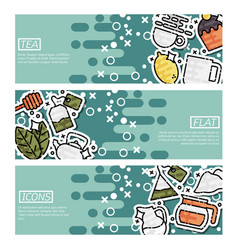 Set of horizontal banners about tea vector