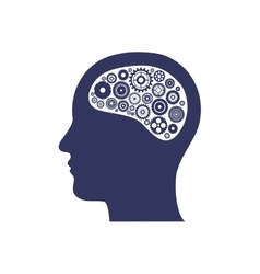 silhouette of head with gear in the brain vector image