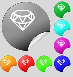 Diamond icon sign set of eight multi colored round vector
